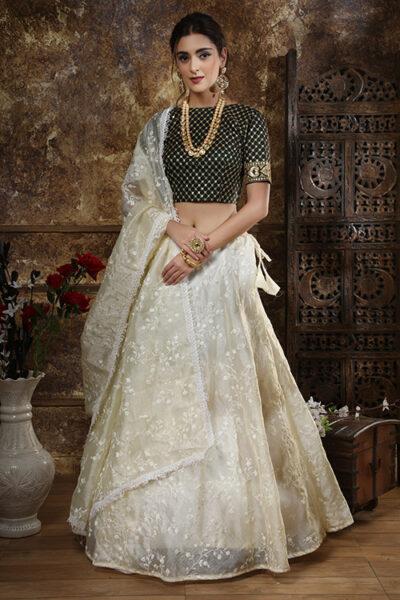 Off White Thread Embroidered Semi Stitched Lehenga Choli