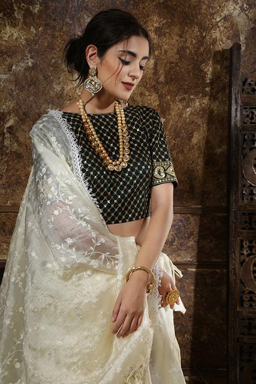 Off White Thread Embroidered Semi Stitched Lehenga Choli (2)