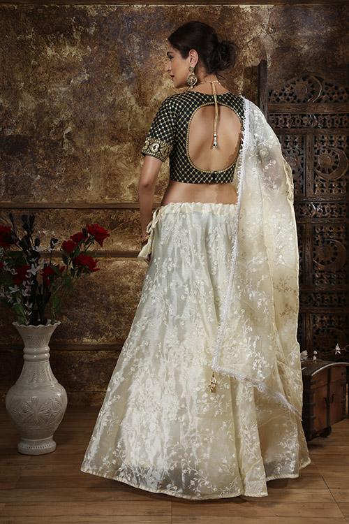 Off White Thread Embroidered Semi Stitched Lehenga Choli (4)