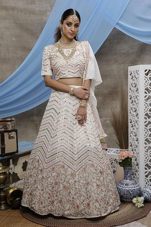 Pearl White Beautiful Bridal Look Designer Lehenga Choli Collection (3)