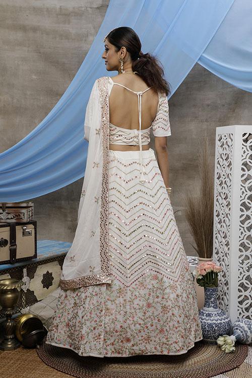 Pearl White Beautiful Bridal Look Designer Lehenga Choli Collection (4)