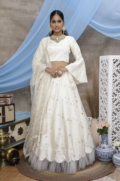 Pearl White Thread Embroiered Semi Stitched Lehenga Choli
