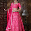 Pink Designer Embroidered Semi Stitched Lehenga Choli