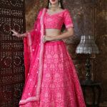 Pink Designer Embroidered Semi Stitched Lehenga Choli (1)