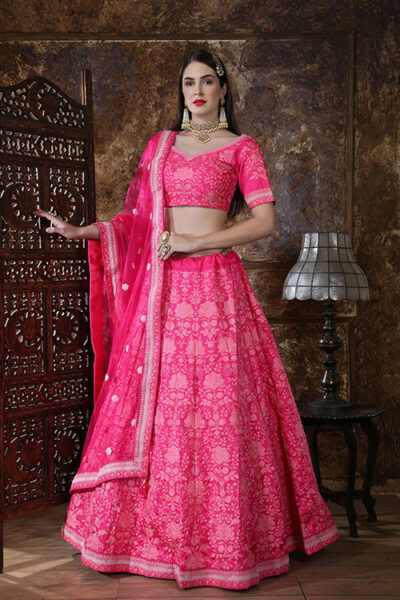 Pink Designer Embroidered Semi Stitched Lehenga Choli