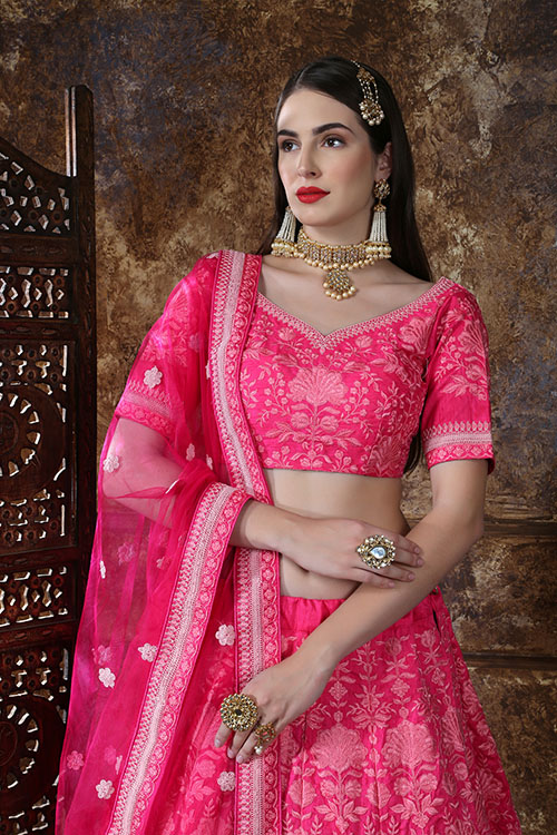 Pink Designer Embroidered Semi Stitched Lehenga Choli (2)