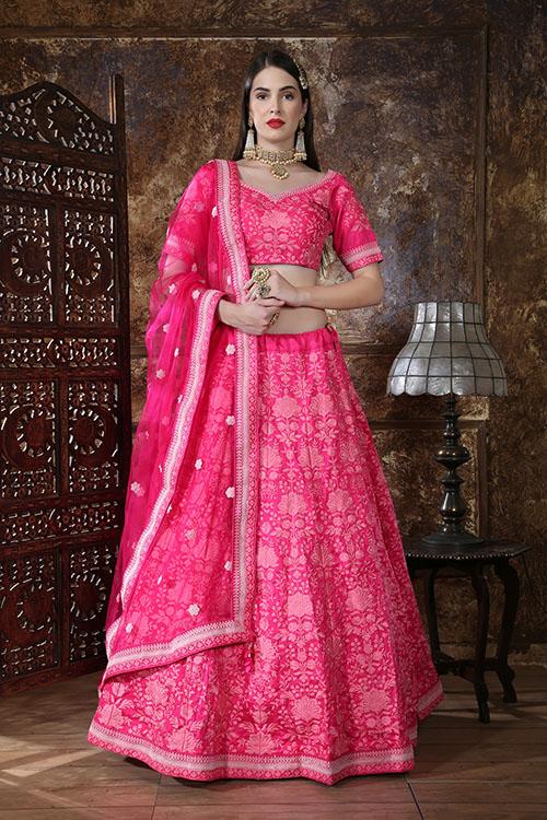 Pink Designer Embroidered Semi Stitched Lehenga Choli (3)
