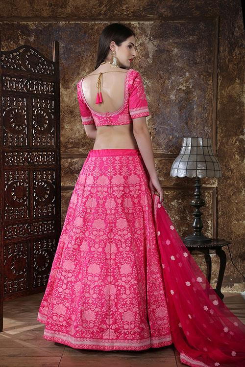 Pink Designer Embroidered Semi Stitched Lehenga Choli (4)
