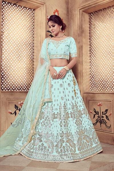 Turquoise Blue Color Lehenga Choli with Dupatta Collection