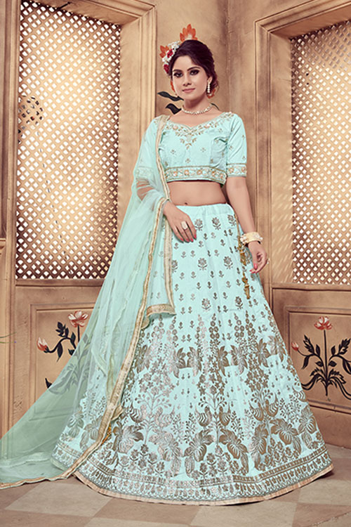 Turquoise Blue Color Lehenga Choli with Dupatta Collection (2)