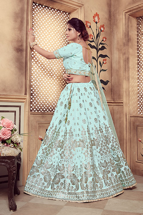 Turquoise Blue Color Lehenga Choli with Dupatta Collection (4)