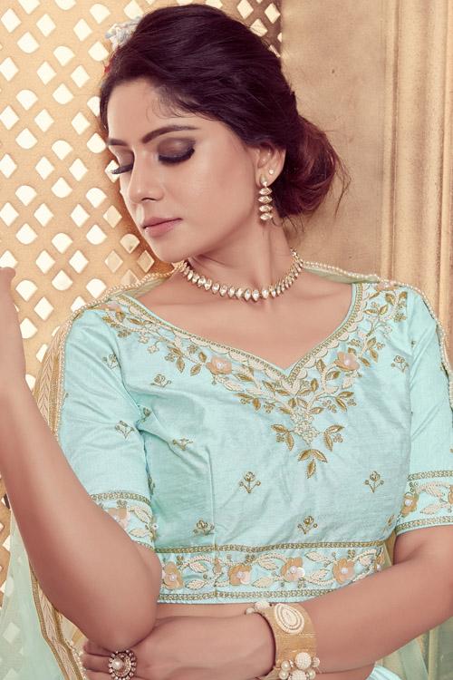Turquoise Blue Color Lehenga Choli with Dupatta Collection (5)