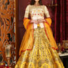 White and Yellow Contrast Color Lehenga Choli Full Set Collection