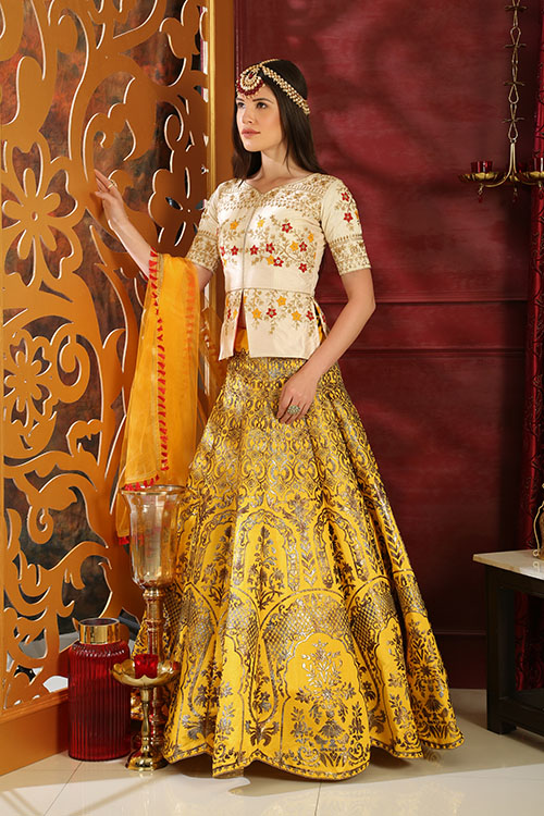 White and Yellow Contrast Color Lehenga Choli Full Set Collection (2)