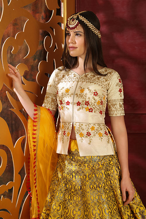 White and Yellow Contrast Color Lehenga Choli Full Set Collection (4)