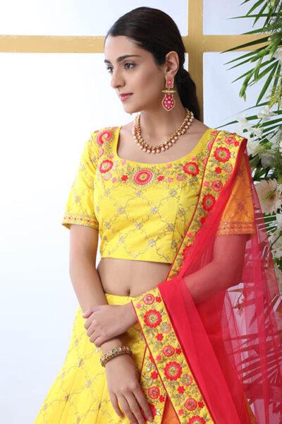 Yellow Color Art Silk Embroidered Work Lehenga Choli
