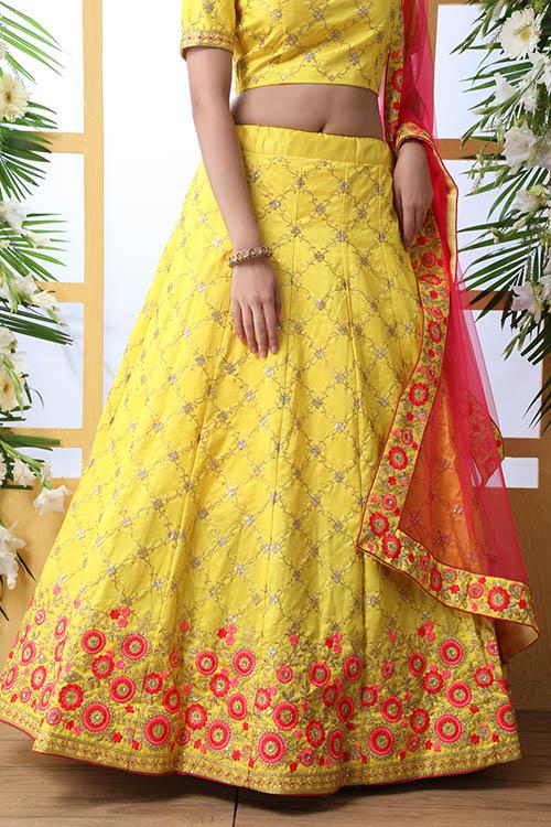 Yellow Color Art Silk Embroidered Work Lehenga Choli (4)