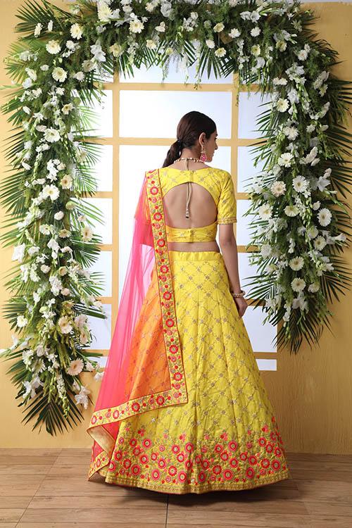 Yellow Color Art Silk Embroidered Work Lehenga Choli (6)