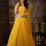 Yellow Color Georgette Thread and Sequence Embroidered Lehenga Choli (1)