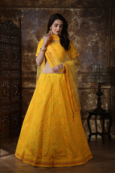 Yellow Color Georgette Thread and Sequence Embroidered Lehenga Choli