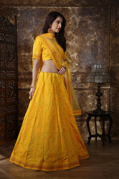 Yellow Color Georgette Thread and Sequence Embroidered Lehenga Choli (3)