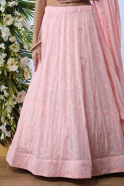 Baby Pink Embroiered Lehenga Choli With Dupatta (4)