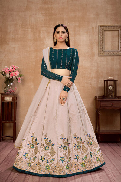 Beige with Green Thread With Sequance Embroiered Work Lehenga Choli