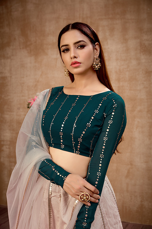 Beige with Green Thread With Sequance Embroiered Work Lehenga Choli (2)