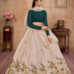 Beige with Green Thread With Sequance Embroiered Work Lehenga Choli (1)