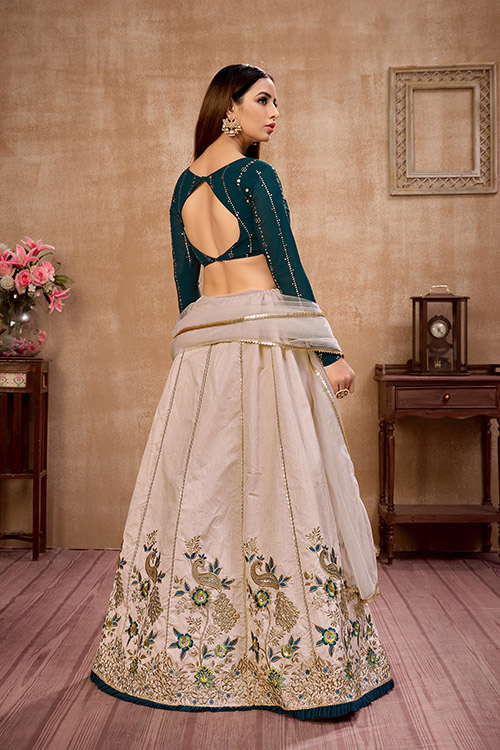 Beige with Green Thread With Sequance Embroiered Work Lehenga Choli (4)