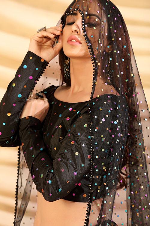 Black Color Girly Look Designer Foil Printed Lehenga Choli with Dupatta (2)