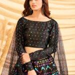 Black Color Girly Look Designer Foil Printed Lehenga Choli with Dupatta (1)