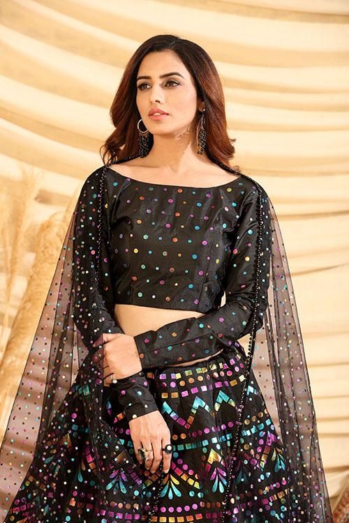 Black Color Girly Look Designer Foil Printed Lehenga Choli with Dupatta (3)