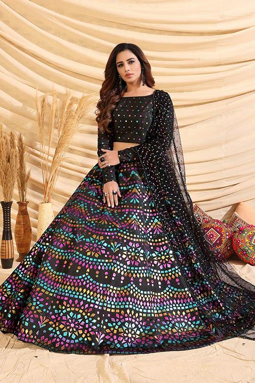 Black Color Girly Look Designer Foil Printed Lehenga Choli with Dupatta (4)
