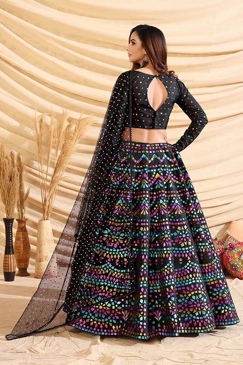 Black Color Girly Look Designer Foil Printed Lehenga Choli with Dupatta (5)