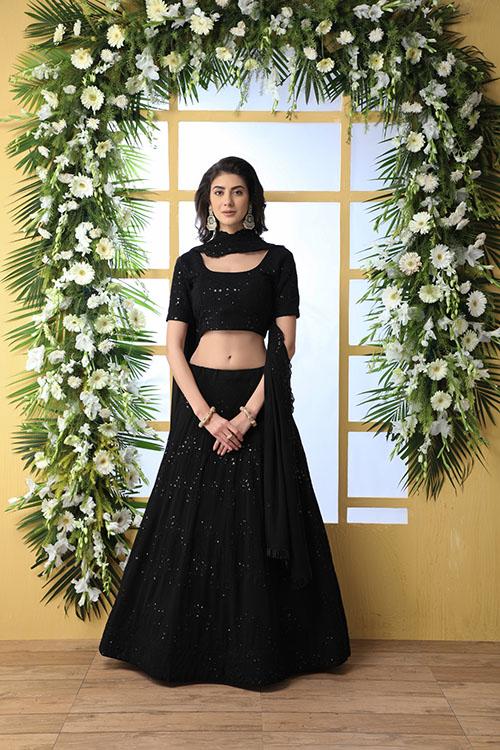 Black Thread Embroidered Looking Beautiful Lehenga Choli (1)