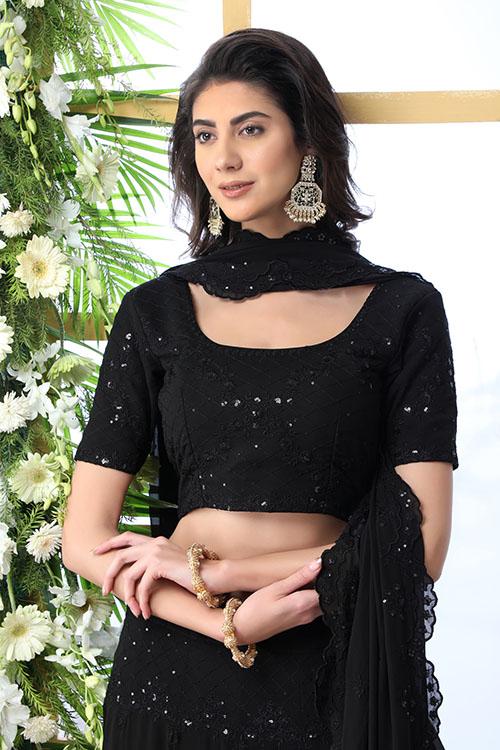 Black Thread Embroidered Looking Beautiful Lehenga Choli (2)