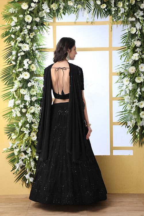 Black Thread Embroidered Looking Beautiful Lehenga Choli (5)
