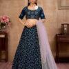 Blue Metailic Foil Work Lehenga Choli With Dupatta