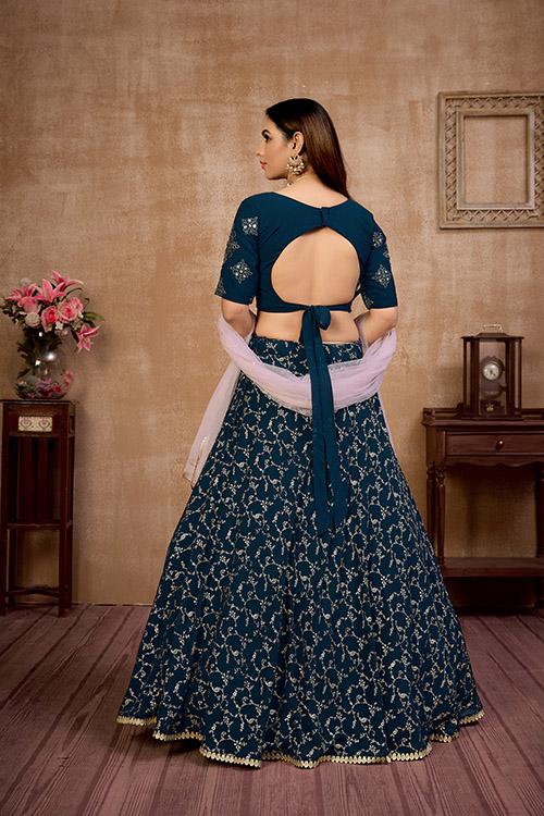 Blue Metailic Foil Work Lehenga Choli With Dupatta (4)