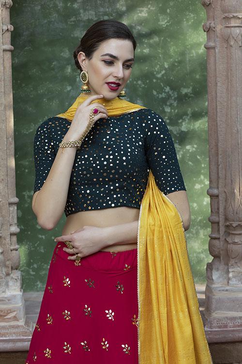 Contrast Color Designer Exclusive Squince Work Lehenga Choli (2)
