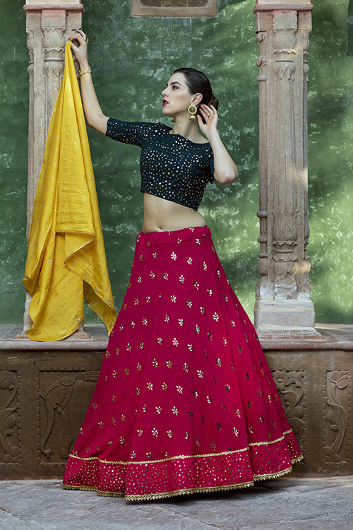Contrast Color Designer Exclusive Squince Work Lehenga Choli (3)