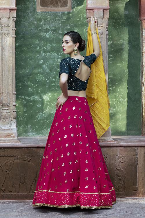 Contrast Color Designer Exclusive Squince Work Lehenga Choli (4)