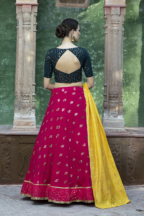 Contrast Color Designer Exclusive Squince Work Lehenga Choli (5)