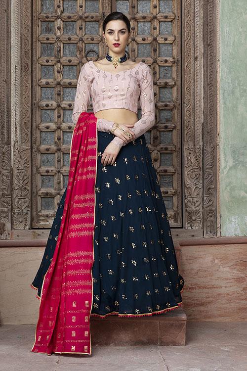 Contrast Designer Exclusive Semi Stitched Lehenga Choli (1)