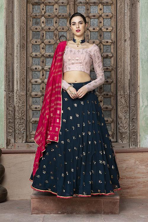 Contrast Designer Exclusive Semi Stitched Lehenga Choli (2)