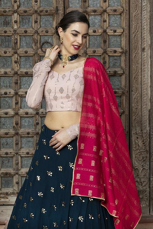 Contrast Designer Exclusive Semi Stitched Lehenga Choli (3)