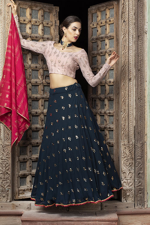 Contrast Designer Exclusive Semi Stitched Lehenga Choli (4)