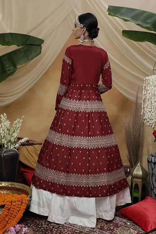 Contrast Lehenga Choli With Long Stylish Koti Collection (4)
