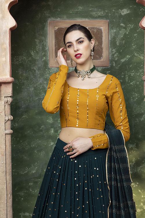 Dark Green Designer Exclusive Traditional Lehenga Choli (2)